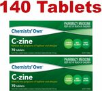 Cetirizine Hydrochloride 10mg Chemists' Own C-Zine (Zyrtec Generic) 140 Tablets (2x 70 Tabs) $20.99 Delivered @ PharmacySavings