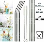 8 Reusable Stainless Steel Straws + 2 Brushes Drinking Set (30% off) $5.95 Delivered @ FSOnline