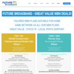 nbn 12/1Mbps 300GB with Unlimited National & Mobile VoIP for $45 Per Month, Unused Data Bank, Bonus 2500GB @ Future Broadbrand