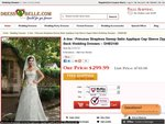 $20 off ($279) +Free Shipping - A-Line Princess Strapless Sweep Satin Applique Wedding Dress