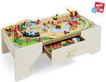 Train Table with 100 Pcs Wooden Train Set Only $99 from Aldi
