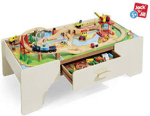 train table with 100 pcs wooden train set only 99 from. Black Bedroom Furniture Sets. Home Design Ideas