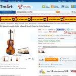 3/4 Natural Acoustic Violin & Case & Bow & Resin US $38.72  Delivered at Tmart