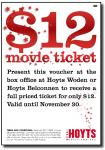 $12 Movie Tickets at Hoyts Woden & Belconnen ACT