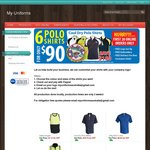 6 Polos for $90 with Free Embroidery, Free Setup, Free Delivery @ My Uniforms