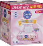 Curash Baby Wipes Fragrance Free 6x80pk $11.99 ($2 per 80pk) @ Chemist Warehouse