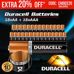 36PK Duracell Alkaline Batteries (18 AAA) (18 AA) with Duralock Technology $24 Delivered @ Outbax Camping eBay