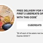 UberEATS - Free Delivery for First 2 Orders (New Users