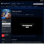 Yakuza 0 (Zero) $47.95 PlayStation Store AU