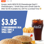 [QLD] 2 Cheeseburgers, Small Chips, and Small Drink - $3.95 @ Hungry Jack's ($4.95 Gold Coast and Brisbane CBD stores)