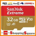 SanDisk Extreme MicroSD 100MB/s U3 - 32GB $23.92, 64GB $42.32, 128GB $93.52 @ ShoppingSquare eBay (delivered)