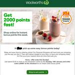 Extra 2000 Woolworths Rewards Points with $120 + Delivery @ Woolworths Online