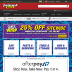 Supercheap Auto - 25% off Sitewide ($100 Minimum Spend)