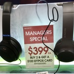 Sony WH-1000XM3 $399 Each, Buy 2 and Get $100 EFTPOS Card @ Sony Kiosk