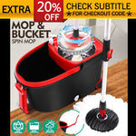 360° Spinning Mop Stainless Steel Bucket 2 Free Spin Mop Heads Wheel $23.99 Delivered @ Sello-Products eBay
