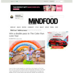 Win 1 of 3 Double Passes to The Color Run Love Tour at the Gold Coast on August 18 Worth $150 from MiNDFOOD