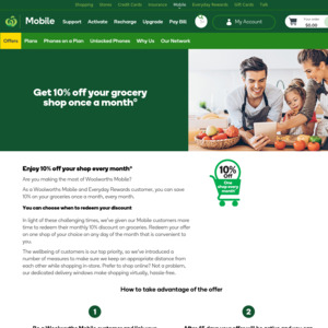 10% off One Shop Every Month (Max Discount $50) @ Woolworths [Woolworths Mobile & Woolworths Rewards Required for > 60 Days]