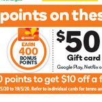 Earn 400 Points on $20 Google Play or Netflix Gift Card | 1000 Points on $50 Google Play, Uber or Netflix Gift Card @ Woolworths