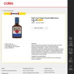½ Price Bull's Eye Barbeque Sauce $2, Whittaker's Slabs 50g $1 @ Coles