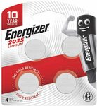 Energizer 2025 Coin Battery, Pack of 4 $6.25 (S&S $5.63) + Delivery ($0 with Prime/ $39 Spend) @ Amazon AU