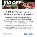 $10 off Pizza (Min Spend $25, Delivered by Restaurant Locations Only) @ Menulog