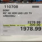 "Sony 65"" 4K HDR UHD LED TV XR65X90J $1978.99 @ Costco (Membership Required)"