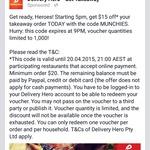 $15 off Delivery Hero - (Minimum $20 Order)