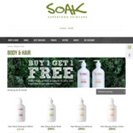 Buy 1 Body or Hair Product & Get 1 Free @ SOAK Skin! Comes with FREE festive gift wrap