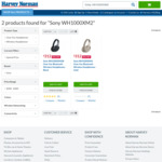Sony WH1000XM2B Over-Ear Bluetooth Wireless Noise Cancelling Headphones in Black / Gold $312 @ Harvey Norman