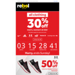 30% off Clothing at rebel (Excluding Supporter Wear and Socks)