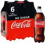 Coca-Cola No Sugar Soft Drink Multipack Bottles 6x 1.25L - $8.52 + Delivery (Free with Prime/ $49 Spend) @ Amazon AU