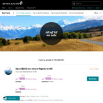 $200 off Return Fares to New Zealand @ Air New Zealand