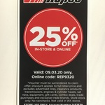 25% off In-Store & Online @ Repco
