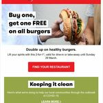 Buy One Get One Free on All Burgers @ Grill'd (Relish Members, Multiple Use Barcode)
