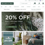 20% off Full Priced Items @ Bed Bath n' Table