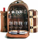 Hap Tim Waterproof Picnic Backpack for 4 Person with Cutlery Set $79.99 Delivered @ Haptim Amazon AU