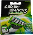 Gillette Mach 3 Sensitive Razor Blade Cartridges 4pk $8.99 (RRP $19.99) @ Shaver Shop