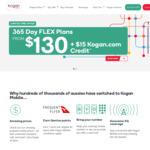 Bonus $15 Kogan Credit When You Buy a 365 Day Flex Plan: Small ($130), Med ($175), Large ($220), XLarge ($280) @ Kogan Mobile